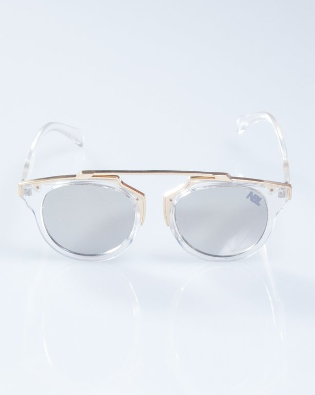 OKULARY LADY ROSH CLEAR-GOLD SILVER MIRROR 930