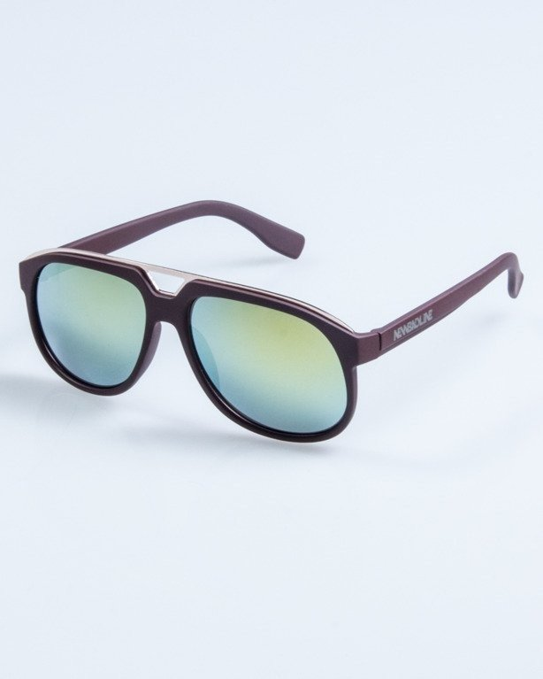 OKULARY ELEGANT BROWN RUBBER YELLOW MIRROR 670