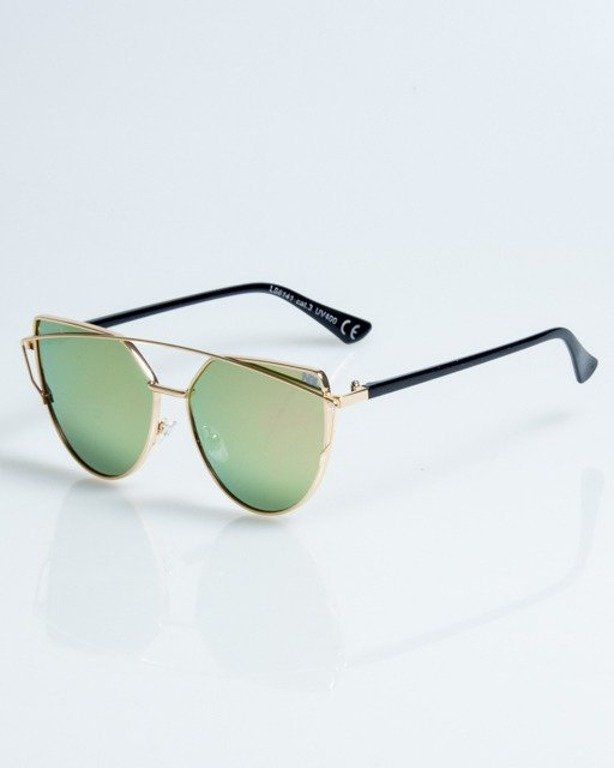 OKULARY QUEEN LADY GOLD-BLASH METAL GREEN-PINK 1081