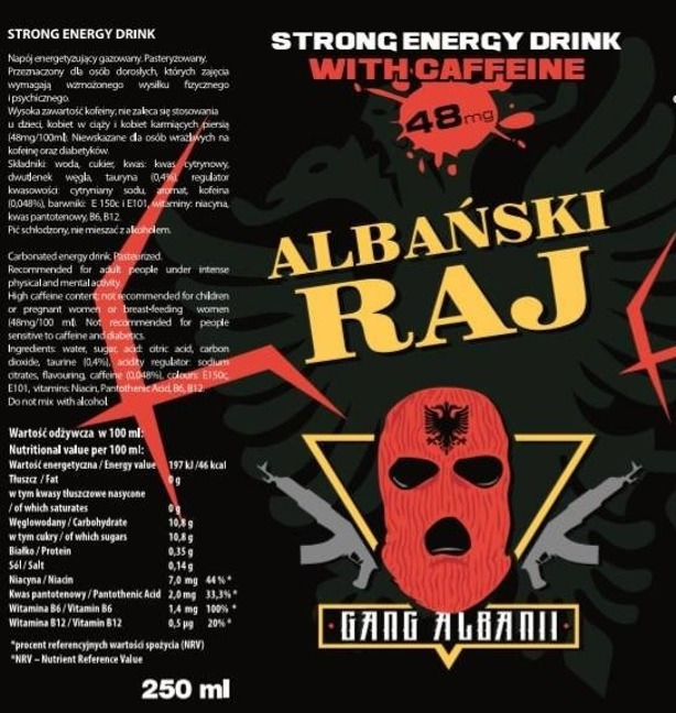ALBAŃSKI RAJ STRONG ENERGY DRINK 12 SZT