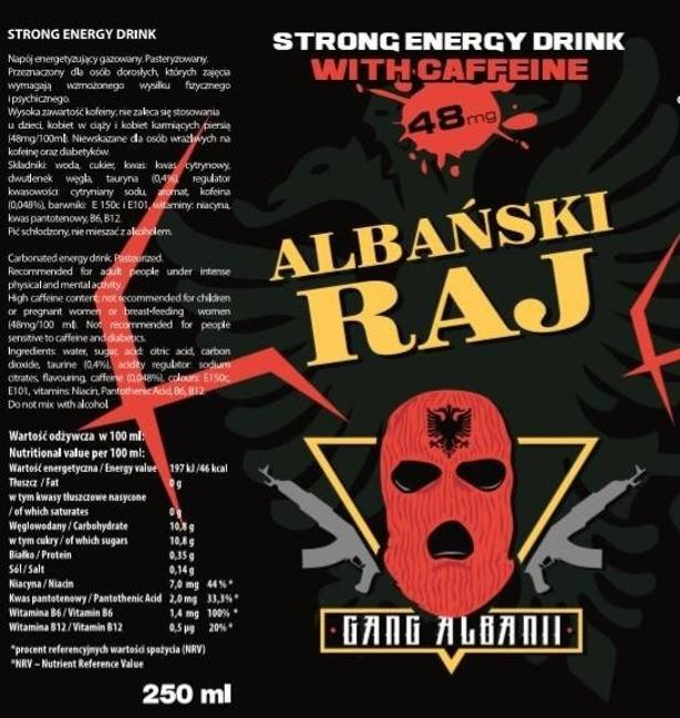 ALBAŃSKI RAJ STRONG ENERGY DRINK 24 SZT