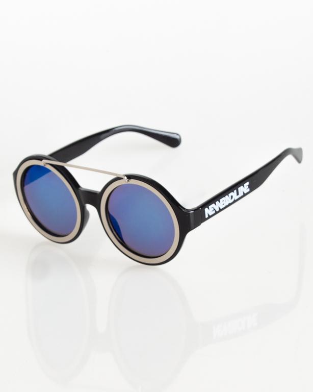 OKULARY AROUND SILVER-BLACK FLASH BLUE MIRROR 076