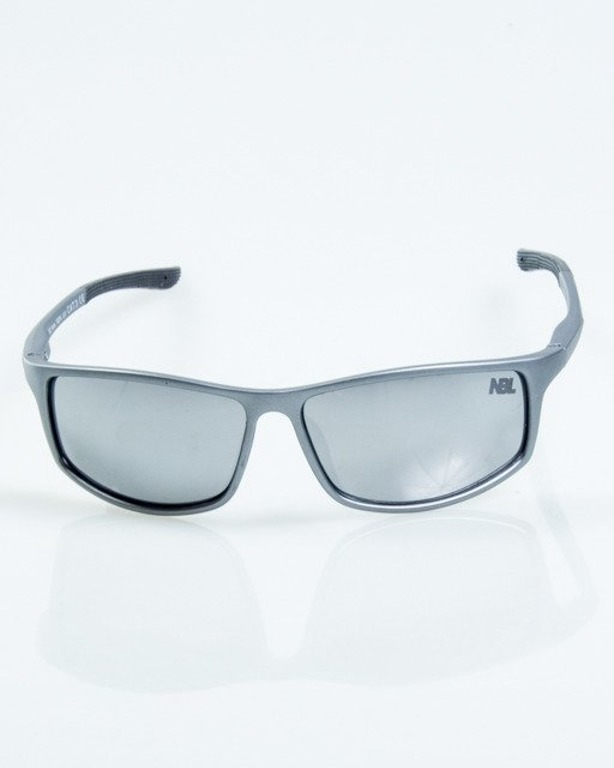 OKULARY BIKER GREY-BLACK MAT RUBBER SILVER MIRROR 1047