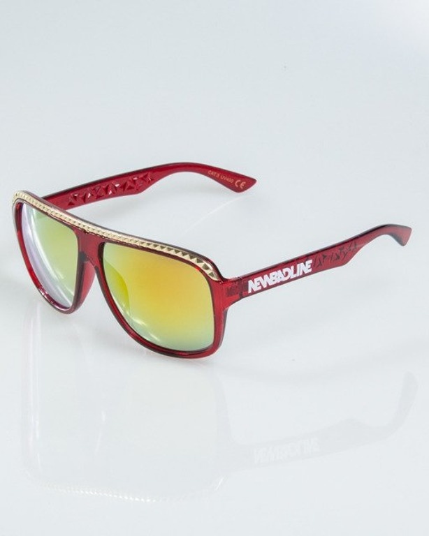 OKULARY BRILLIANT GOLD-RED FLASH RED MIRROR 1104