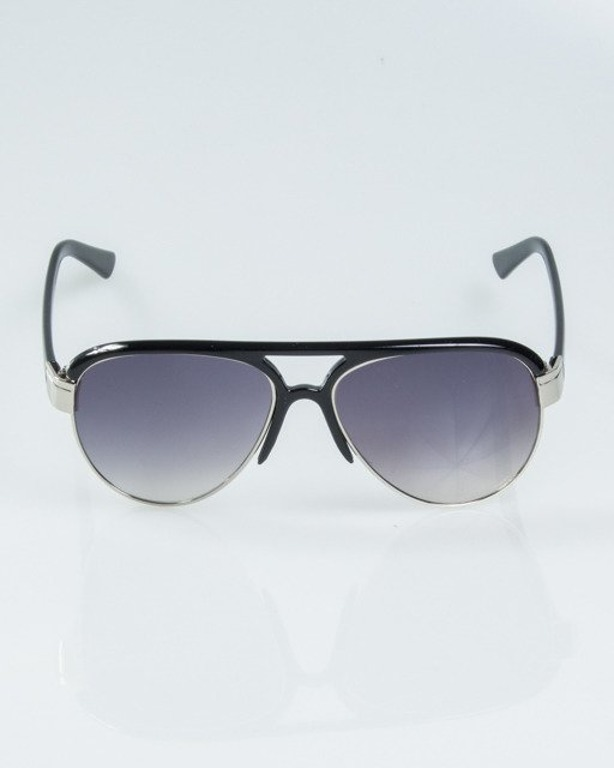 OKULARY BUCKLE SILVER-BLACK METAL FLASH HALF GREY 1182