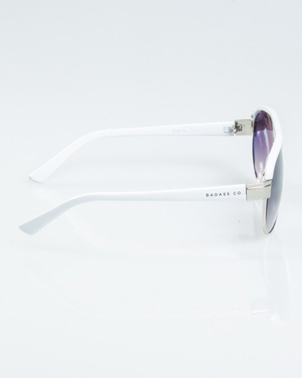 OKULARY BUCKLE SILVER-WHITE METAL FLASH HALF GREY 1180