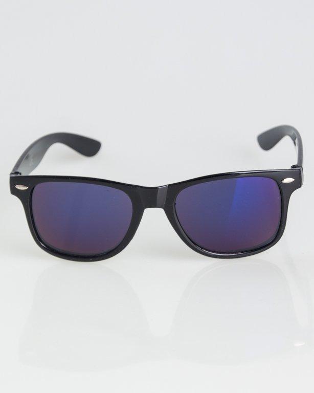 OKULARY CLASSIC BLACK FLASH BLUE MIRROR 1289
