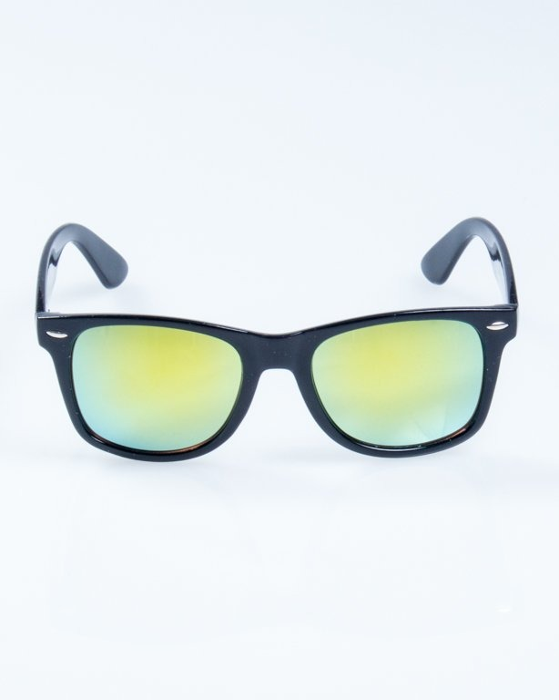 OKULARY CLASSIC BLACK FLASH YELLOW MIRROR 827