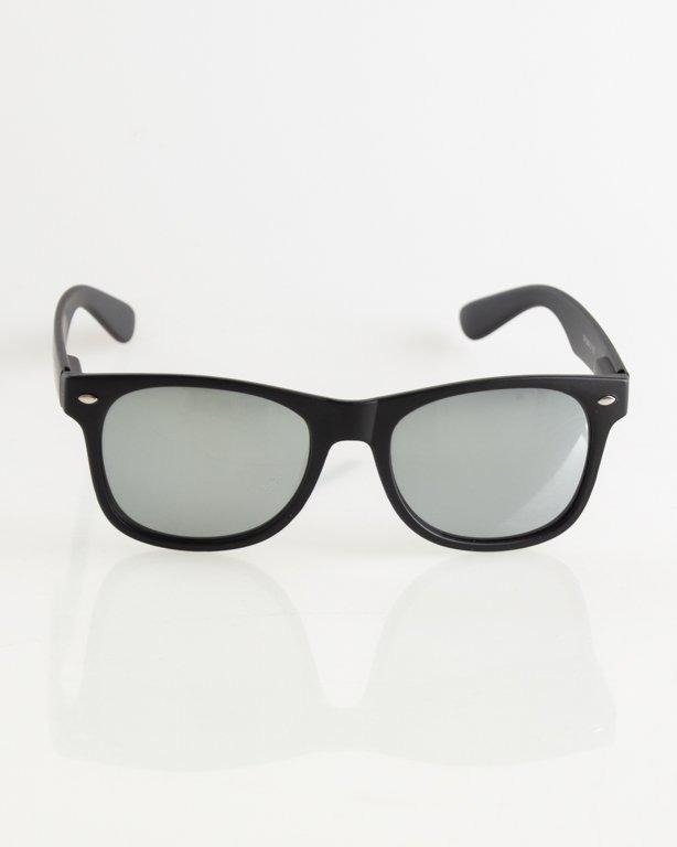 OKULARY CLASSIC BLACK MAT SILVER MIRROR 011