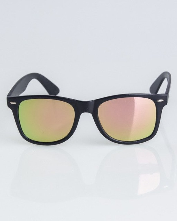 OKULARY CLASSIC BLACK MAT YELLOW-PINK MIRROR 1304