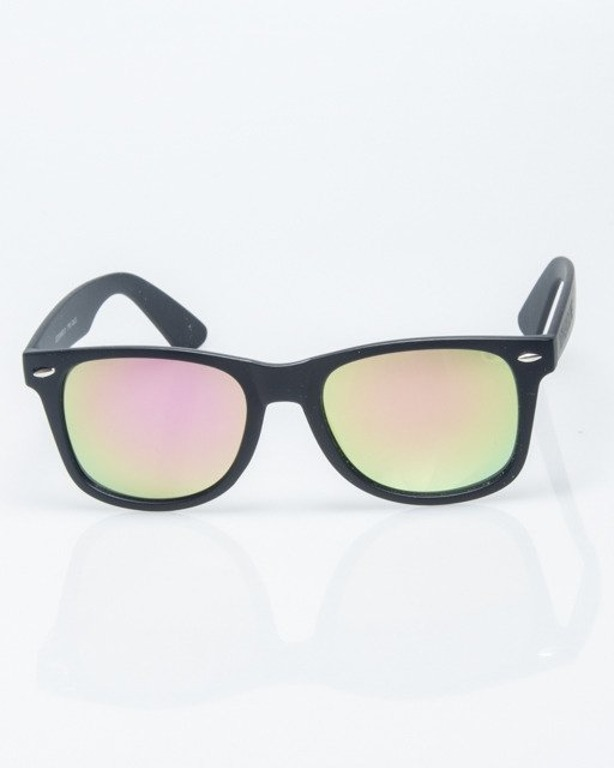 OKULARY CLASSIC BLACK RUBBER PINK-YELLOW MIRROR 1214