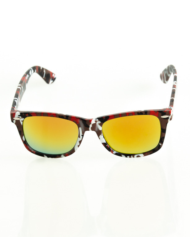 OKULARY CLASSIC CAMO BROWN-WHITE FLASH RED MIRROR 180