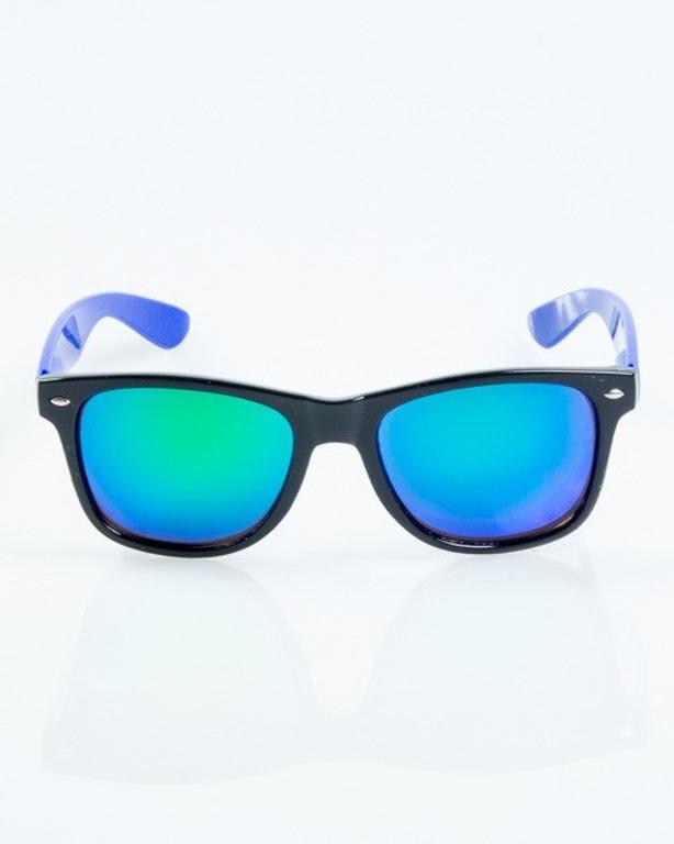 OKULARY CLASSIC HALF BLACK-BLUE FLASH GREEN MIRROR 1058