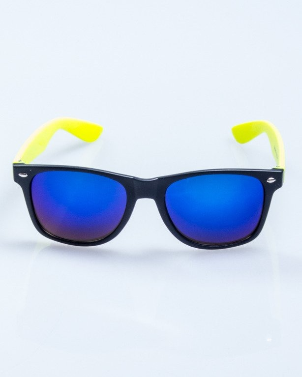 OKULARY CLASSIC HALF BLACK-NEON MAT BLUE MIRROR 509