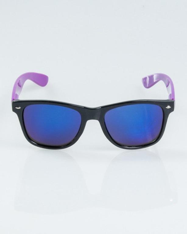 OKULARY CLASSIC HALF BLACK-VIOLET FLASH BLUE MIRROR 1165