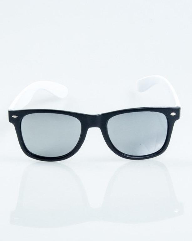 OKULARY CLASSIC HALF BLACK-WHITE MAT SILVER MIRROR 1033
