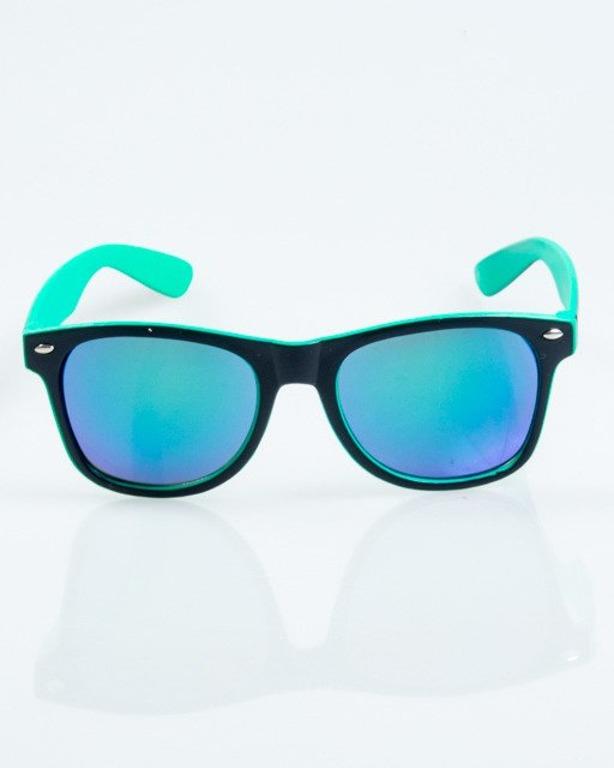 OKULARY CLASSIC INSIDE BLACK-MINT MAT BLUE MIRROR 1039
