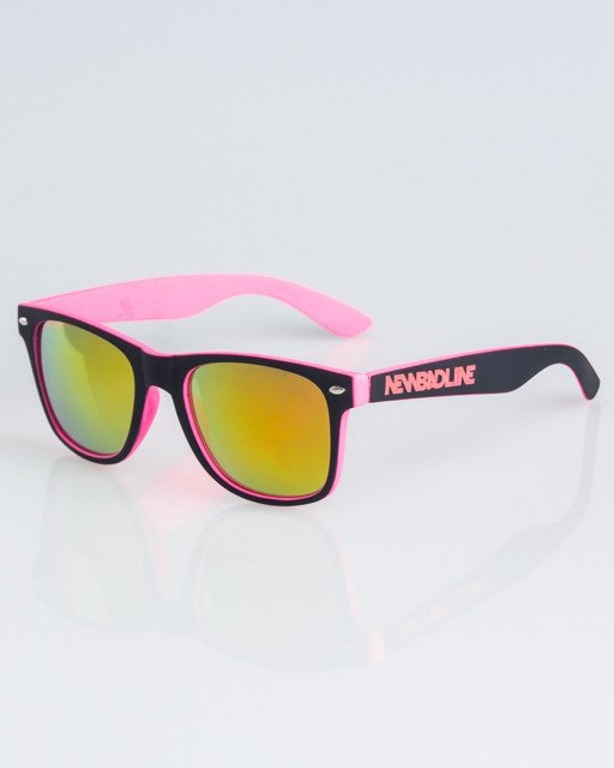 OKULARY CLASSIC INSIDE BLACK-PINK RUBBER RED MIRROR 1329