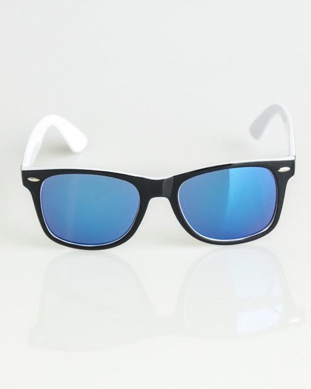 OKULARY CLASSIC INSIDE BLACK-WHITE FLASH BLUE MIRROR 1365