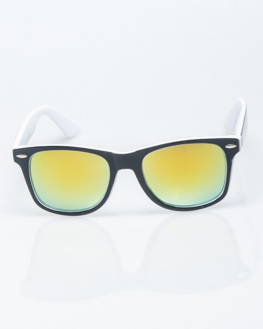 OKULARY CLASSIC INSIDE BLACK-WHITE FLASH YELLOW MIRROR 1208