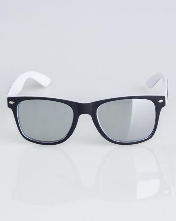 OKULARY CLASSIC INSIDE BLACK-WHITE RUBBER SILVER MIRROR 1328