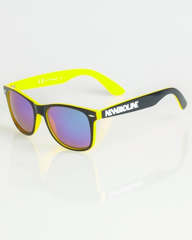 OKULARY CLASSIC INSIDE BLACK-YELLOW FLASH GREEN MIRROR 1359