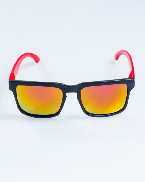 OKULARY CLASSIC MODERN HALF MAT BLACK-RED PINK MIRROR 861