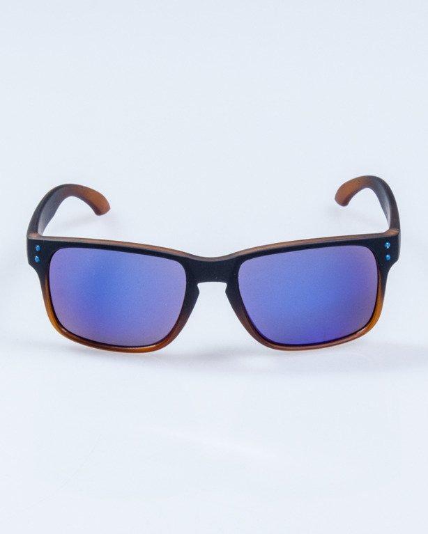OKULARY FREESTYLE BLACK RUBBER BLUE MIRROR 653