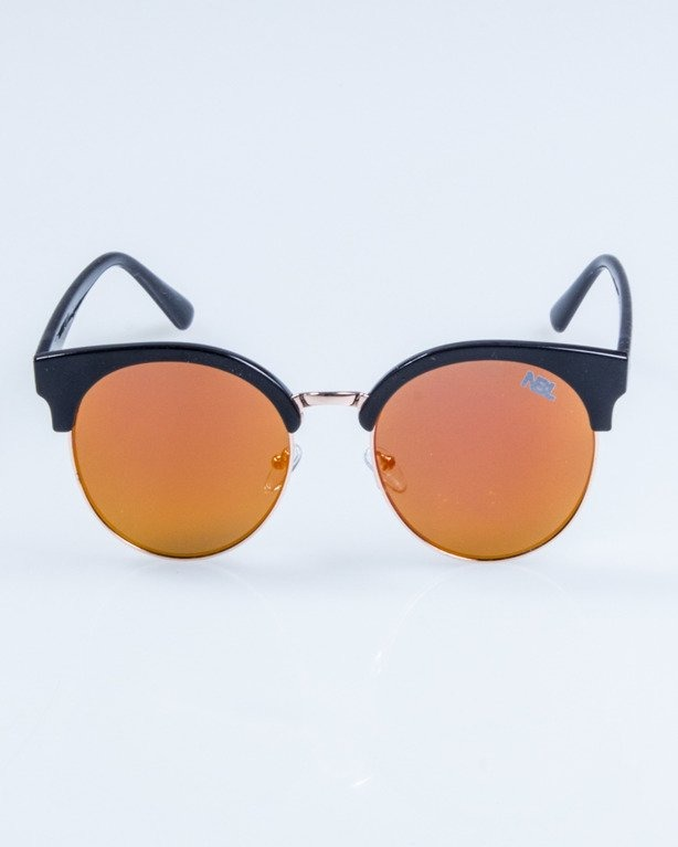 OKULARY LADY CAT BLACK RED MIRROR 730