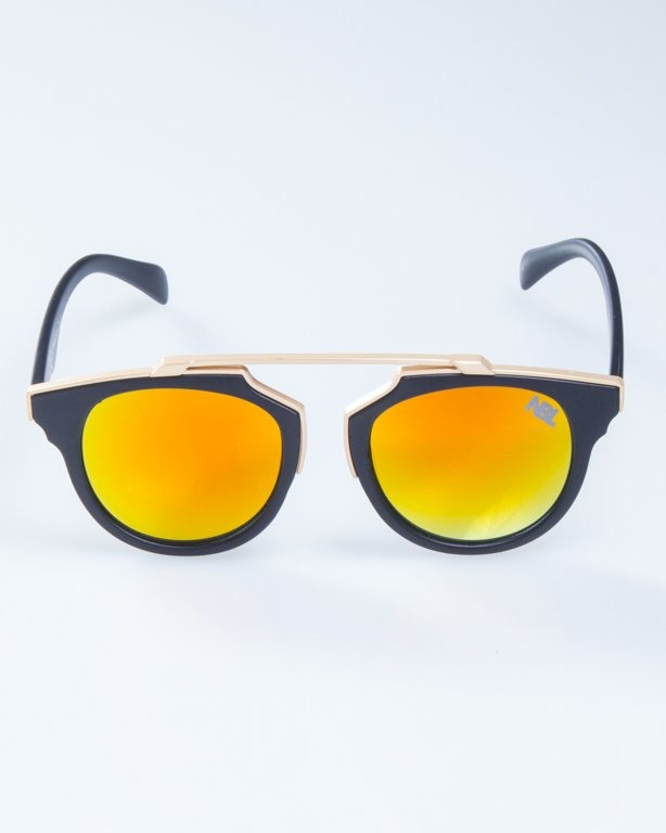 OKULARY LADY ROSH BLACK MAT-GOLD YELLOW MIRROR 932