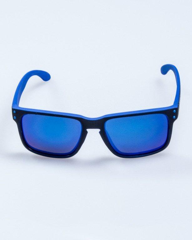 OKULARY POINT BLACK-BLUE RUBBER BLUE MIRROR POLARIZED 526
