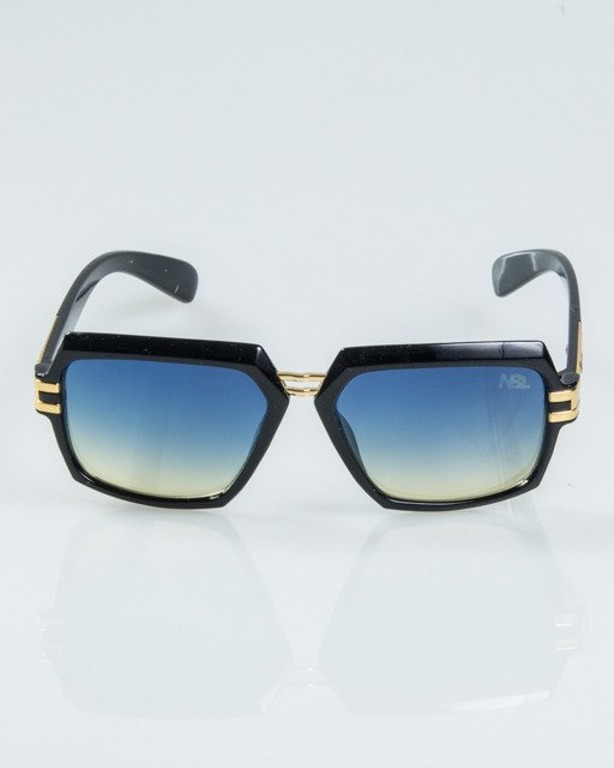 OKULARY RICH BLACK-GOLD METAL FLASH BLUE-YELLOW 1128