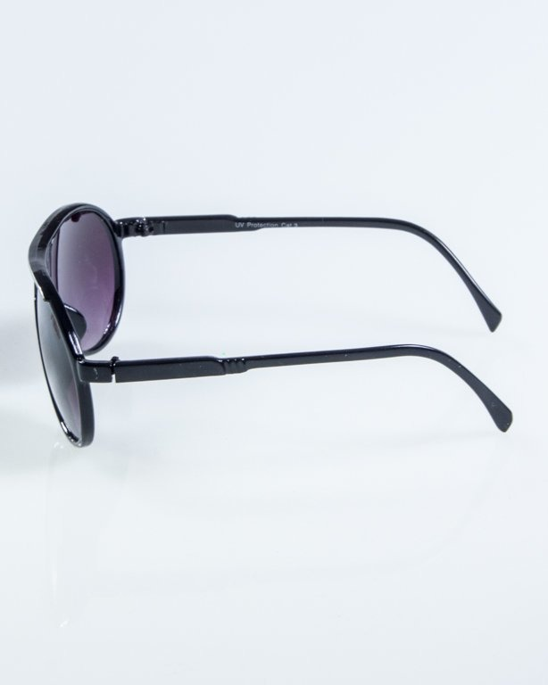 OKULARY ROUND BLACK-WHITE BLACK 917