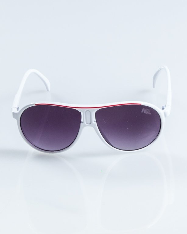 OKULARY ROUND WHITE-RED BLACK 916