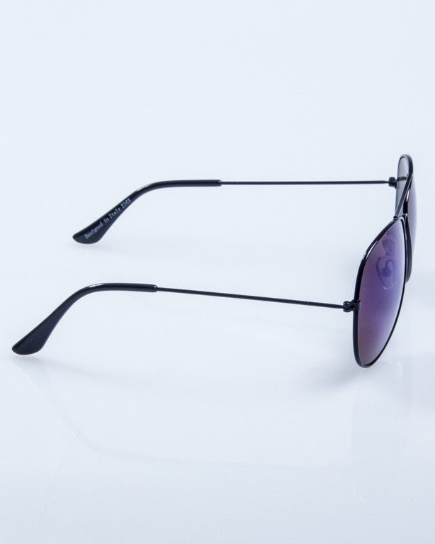 OKULARY SHERIFF BLACK METAL BLUE MIRROR 512