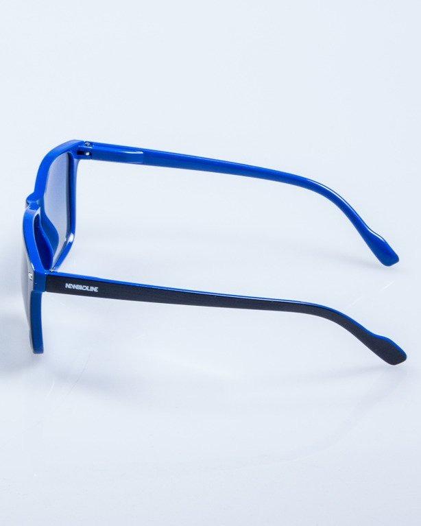 OKULARY SLIM BLACK-BLUE FLASH BLUE MIRROR 600