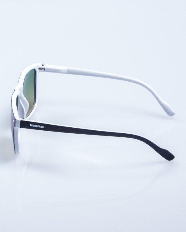 OKULARY SLIM BLACK-WHITE FLASH GREEN MIRROR 604