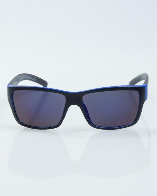OKULARY SMOOTH BLACK-BLUE MAT BLUE MIRROR 1001