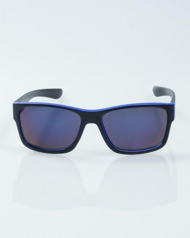 OKULARY SPEED BLACK-BLUE MAT BUE MIRROR 1007