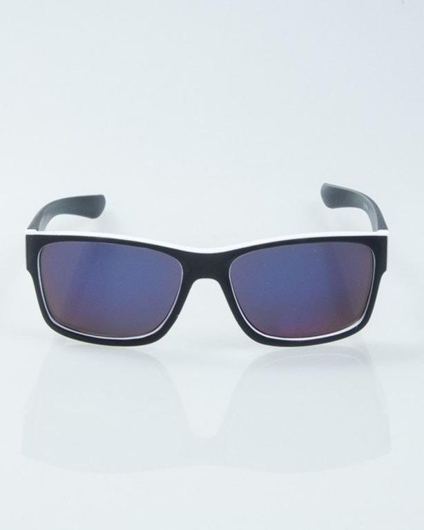 OKULARY SPEED BLACK-WHITE MAT BLUE MIRROR 1009