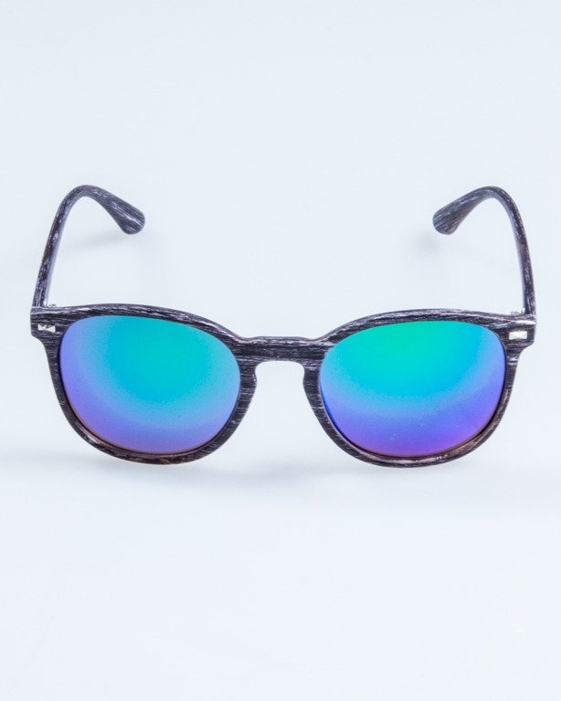 OKULARY WOODY BLACK GREEN MIRROR 715